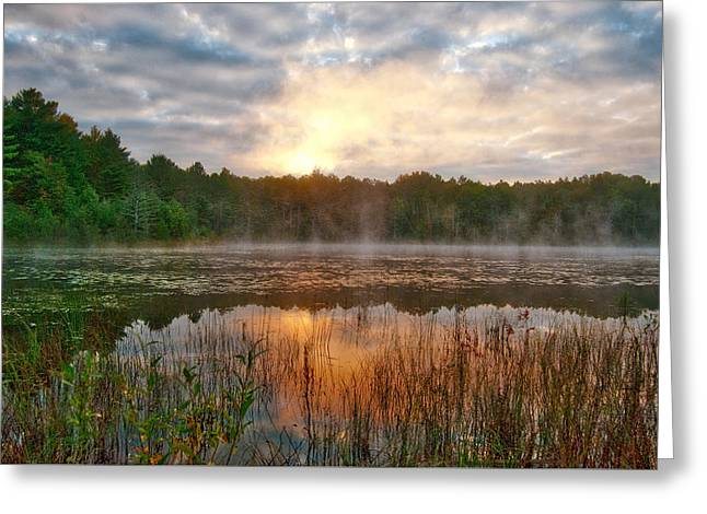 Dawn On Clear Lake_9571 Greeting Card by Michael Peychich