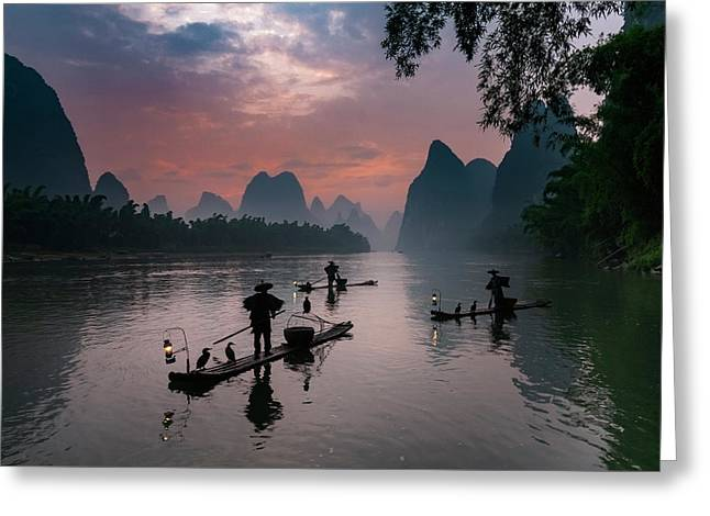 Waiting For Sunrise On Lee River. Greeting Card