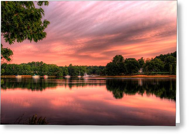 Dawn On The Saco River Greeting Card