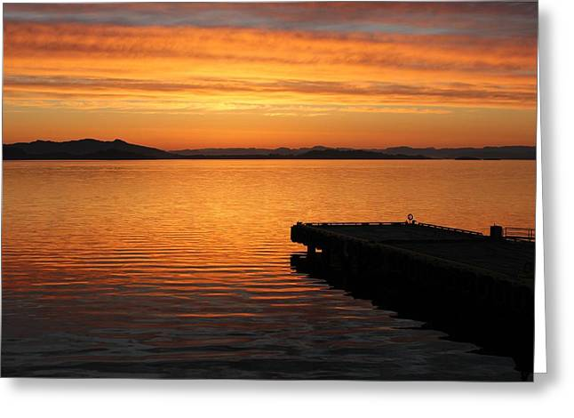 Dawn On The Water At Dusavik Greeting Card