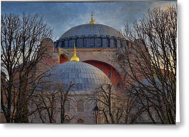 Hagia Sofia Greeting Cards - Dawn over Hagia Sophia Greeting Card by Joan Carroll