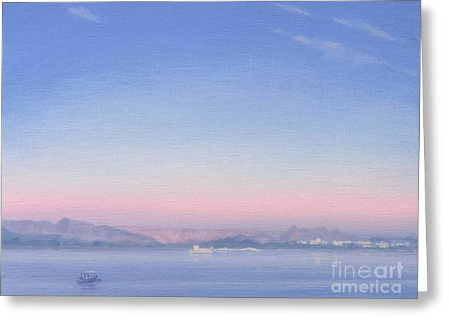 Dawn Over Lake Piccola Greeting Card by Derek Hare