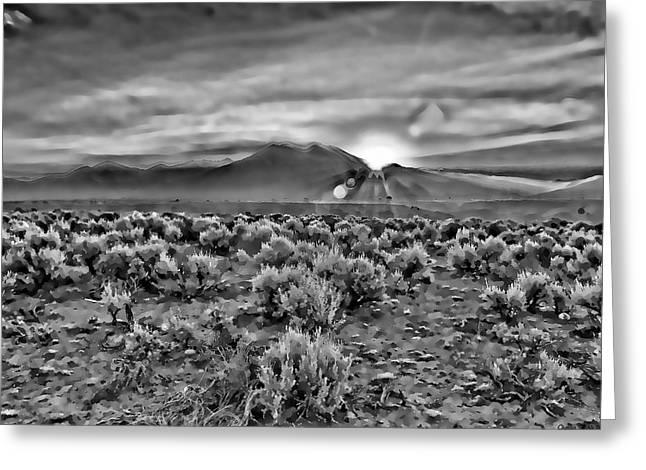 Dawn Over Magic Taos In B-w Greeting Card