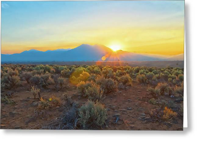 Dawn Over Magic Taos Mountain Greeting Card