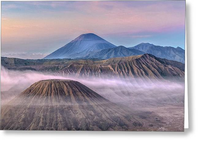 Dawn Over Mount Bromo - Java Greeting Card