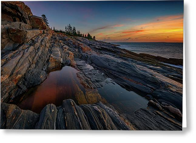 Dawn Over Pemaquid Point Greeting Card by Rick Berk