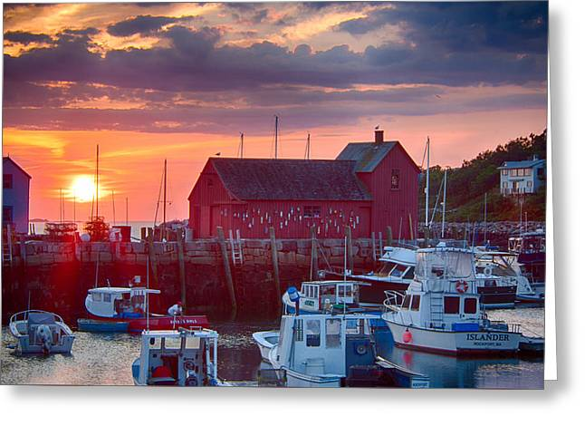 Dawn Over Rockport Massachusetts Greeting Card by Jeff Folger