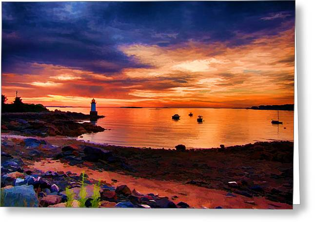 Dawn Over Winter Island Lighthouse Greeting Card