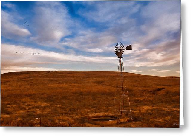 Dawn Prairie Windmill Greeting Card