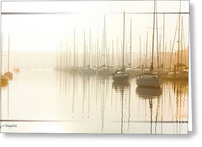 Dawn Reflections - Yachts At Anchor On The River Greeting Card