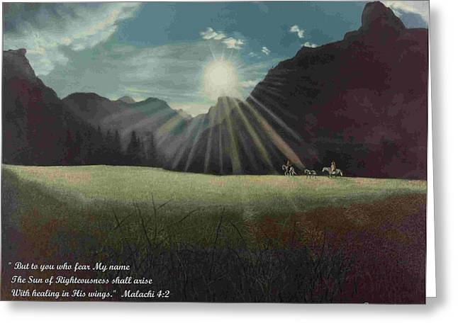 Greeting Card featuring the painting Dawn Riders With Verse by Anastasia Savage Ealy