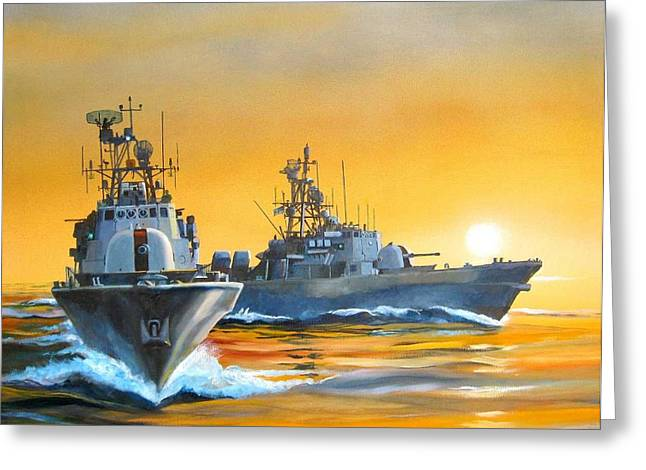 Greeting Card featuring the painting Dawn Run by Tim Johnson