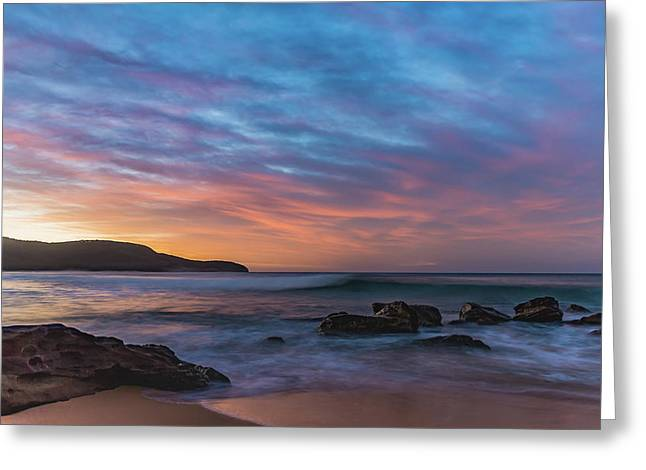 Dawn Seascape With Rocks And Clouds Greeting Card