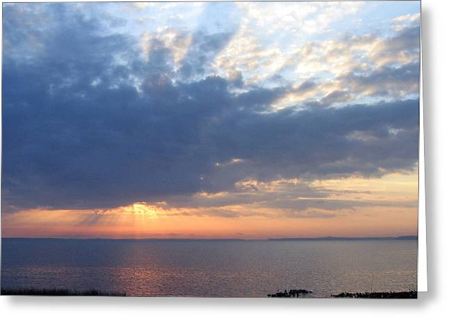 Greeting Card featuring the photograph Dawn Sun Rays by Frederic Kohli