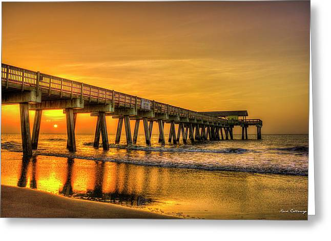 Greeting Card featuring the photograph Dawn Under Tybee Island Pier Sunrise Reflections Art by Reid Callaway
