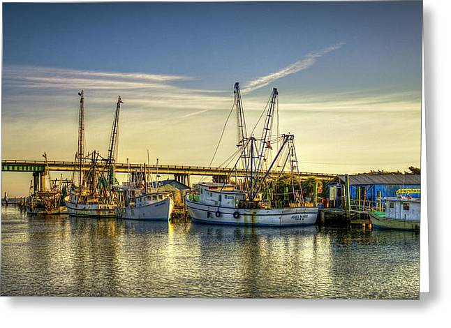Dawns Early Reflections Tybee Island Shrimp Boat Art Greeting Card