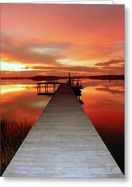 Wooden Dock Greeting Cards - Dawns Embrace Greeting Card by Karen Wiles