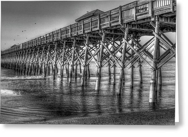 Dawns Reflection Folly Beach Pier Charleston South Carolina Greeting Card by Reid Callaway
