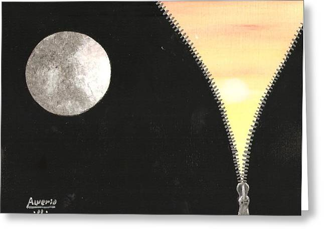 Greeting Card featuring the painting Day And Night by Edwin Alverio