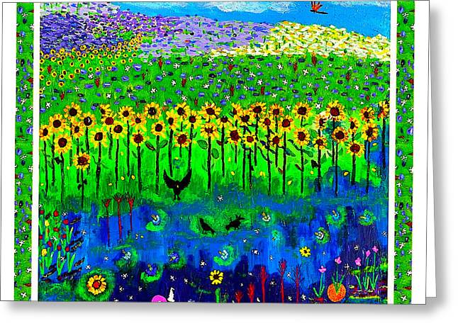 Day And Night In A Sunflower Field With Floral Border Greeting Card