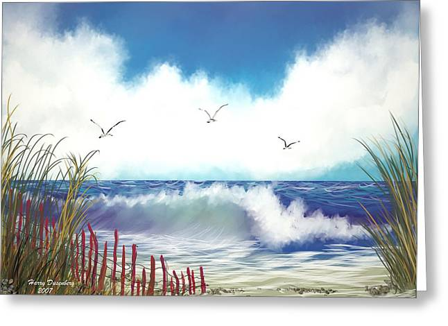 Day At The Beach Greeting Card by Harry Dusenberg
