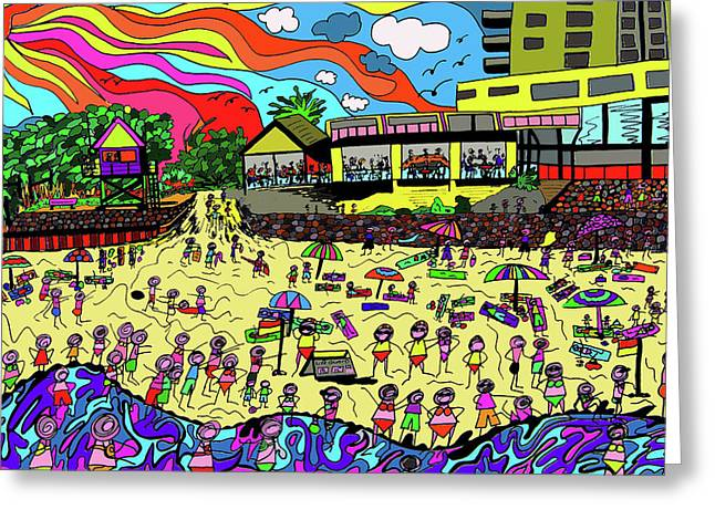 Day At The Beach Greeting Card by Karen Elzinga