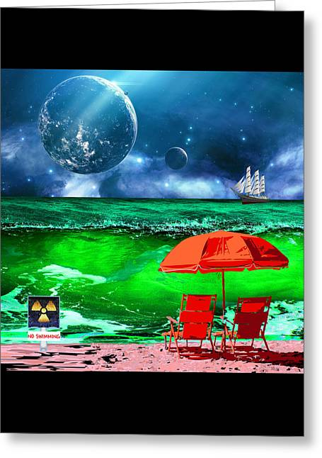 Day At The Beach On Mars Greeting Card by Elaine Plesser