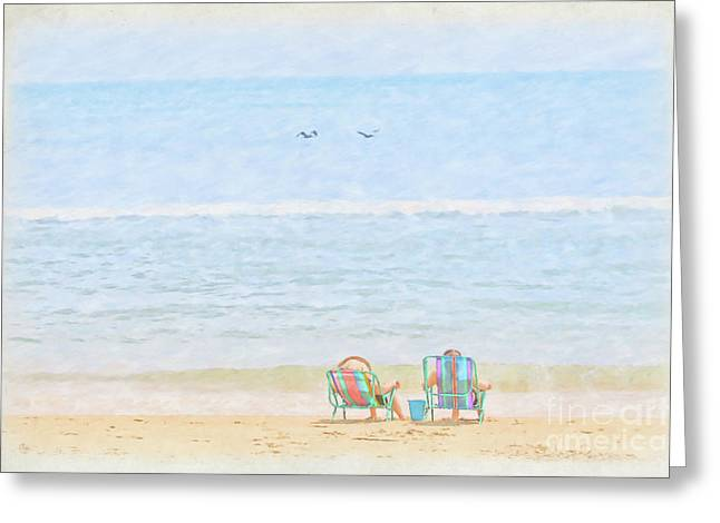 Greeting Card featuring the digital art Day At The Beach Sun And Sand by Randy Steele