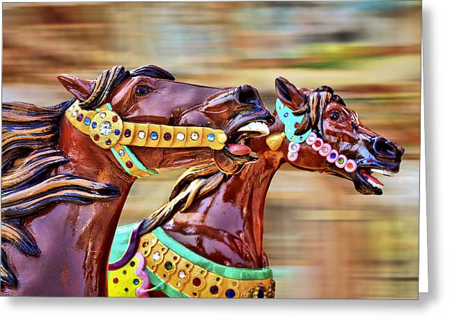 Day At The Races Greeting Card by Evelina Kremsdorf