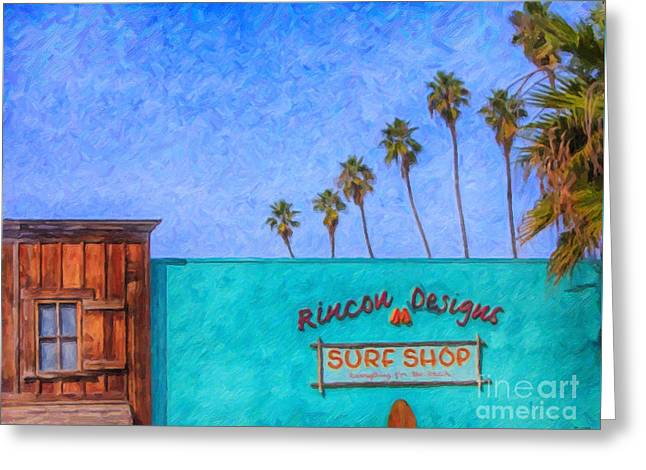 Day At The Surf Shop Greeting Card by David Millenheft