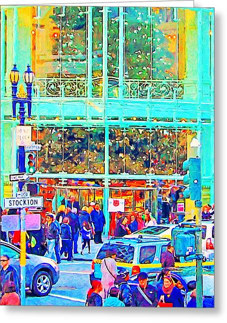 Stockton Street Greeting Cards - Day Before Christmas at Neiman Marcus . Photoart Greeting Card by Wingsdomain Art and Photography