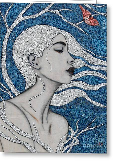 Greeting Card featuring the mixed media Day Dreamer by Natalie Briney