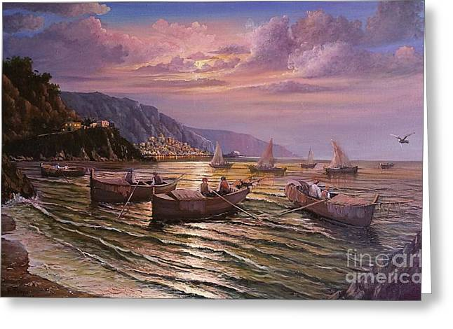 Day Ends On The Amalfi Coast Greeting Card