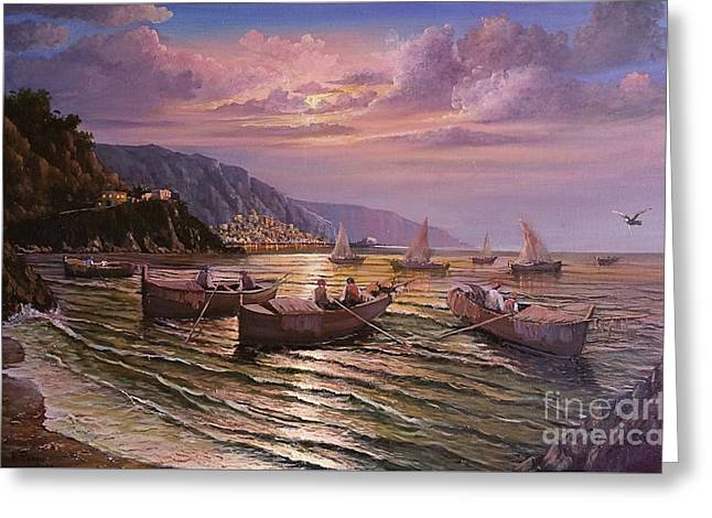Greeting Card featuring the painting Day Ends On The Amalfi Coast by Rosario Piazza