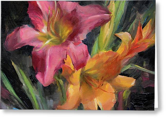 Day Lilies Greeting Card by Anna Rose Bain
