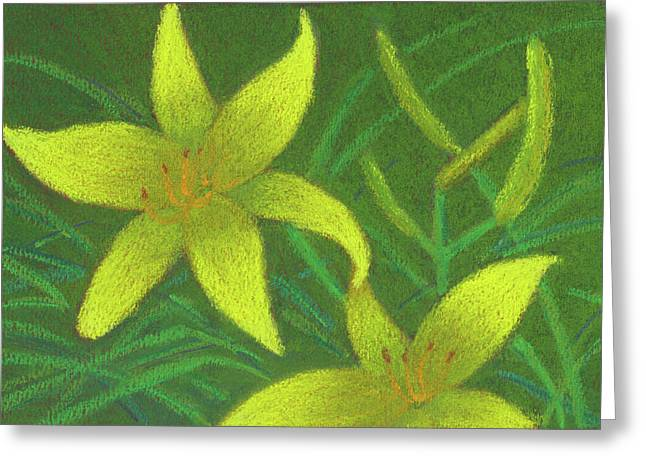 Day Lilies Greeting Card by Anne Katzeff