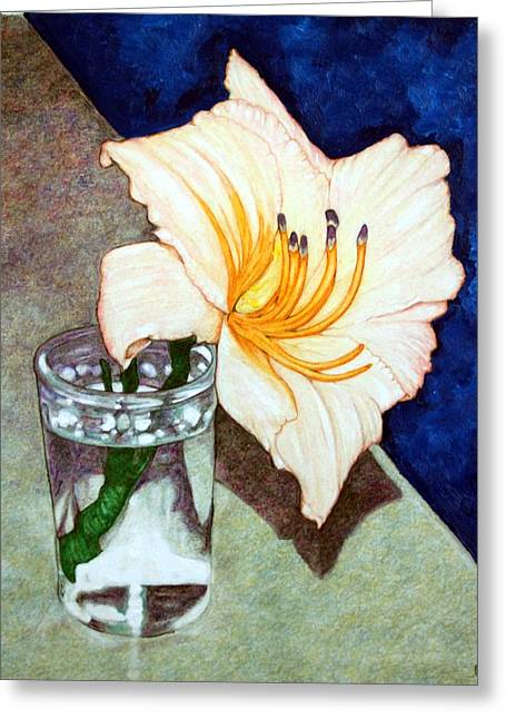 Day Lily In A Water Glass Greeting Card by Edward Ruth