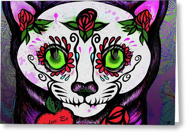 Day Of The Dead Cat Greeting Card