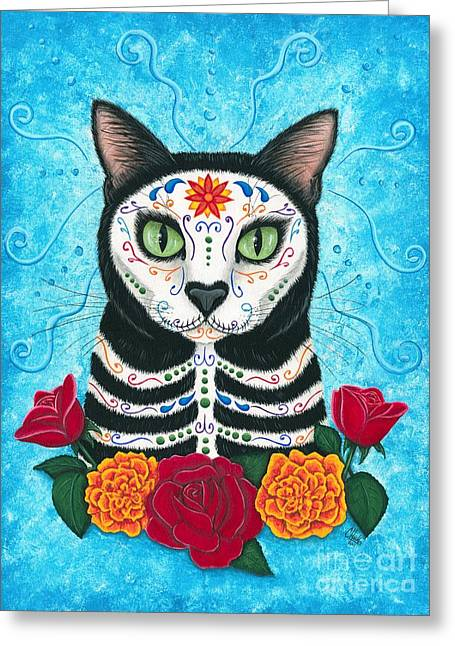 Day Of The Dead Cat - Sugar Skull Cat Greeting Card by Carrie Hawks