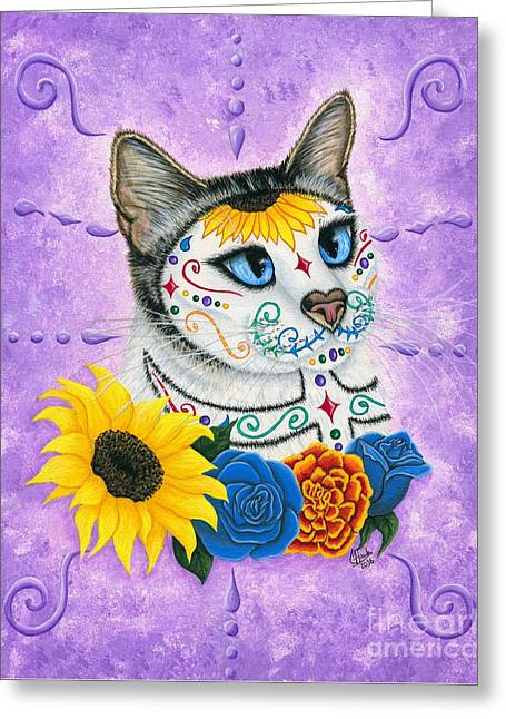 Day Of The Dead Cat Sunflowers - Sugar Skull Cat Greeting Card by Carrie Hawks