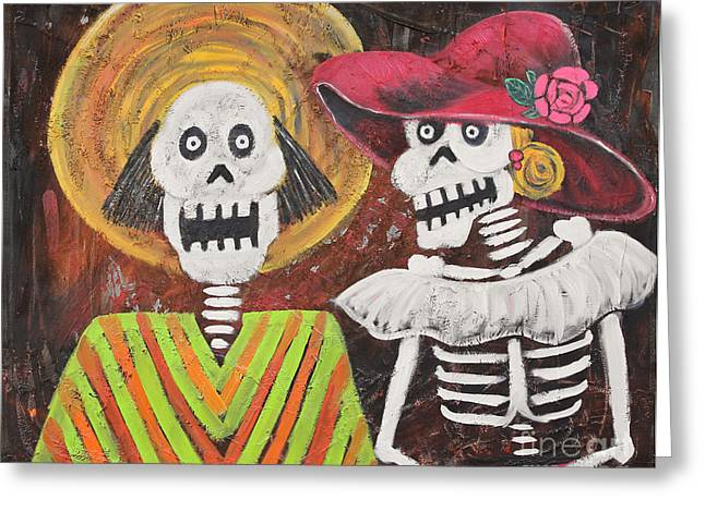 Day Of The Dead Couple Greeting Card by Sonia Flores Ruiz