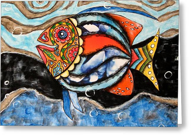 Day Of The Dead Fish Greeting Card by Rain Ririn