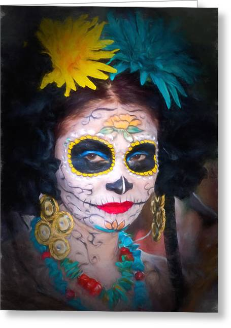 Day Of The Dead Flower Lady Greeting Card