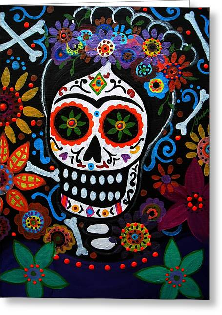 Day Of The Dead Frida Kahlo Painting Greeting Card by Pristine Cartera Turkus