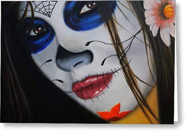 Holloween Greeting Cards - Day of the Dead Girl Greeting Card by Alex Rios