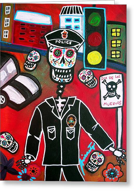 Day Of The Dead Policeman Greeting Card by Pristine Cartera Turkus