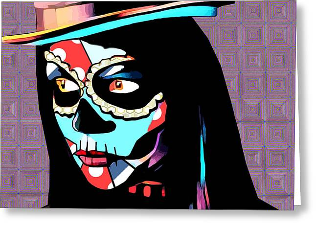 Day Of The Dead Skull Woman Wearing Top Hat Greeting Card