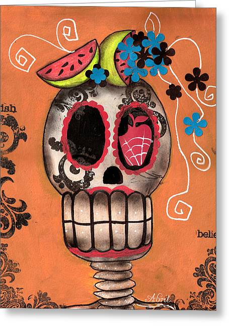 Day Of The Dead Watermelon Greeting Card by  Abril Andrade Griffith