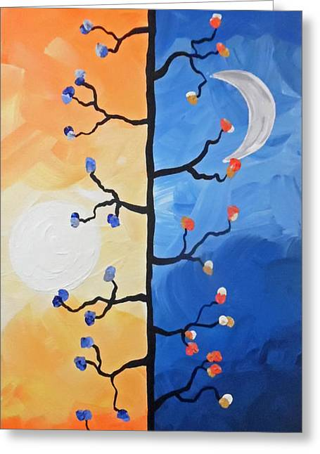 Day Twists To Night Greeting Card by Jilian Cramb - AMothersFineArt