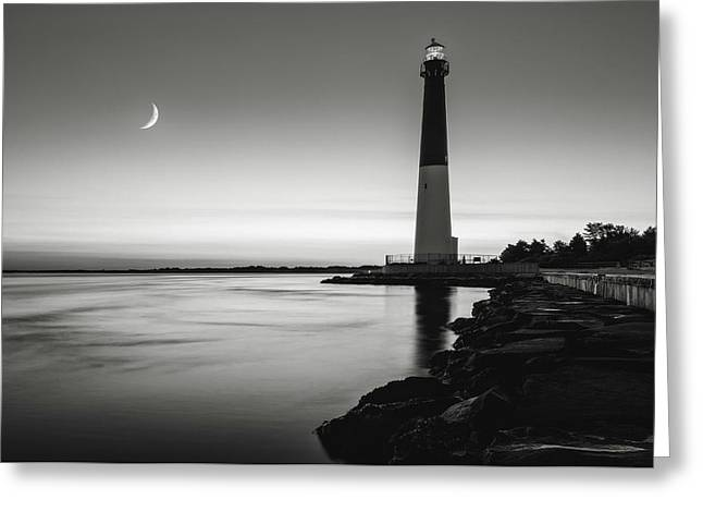 Greeting Card featuring the photograph Daybreak At Barnegat, Black And White by Eduard Moldoveanu